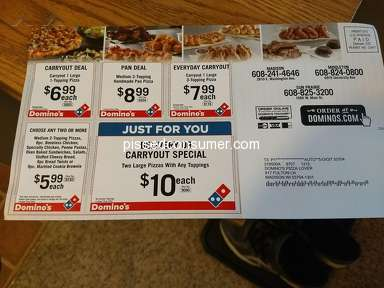 Dominos Pizza - Coupons not being accepted - again