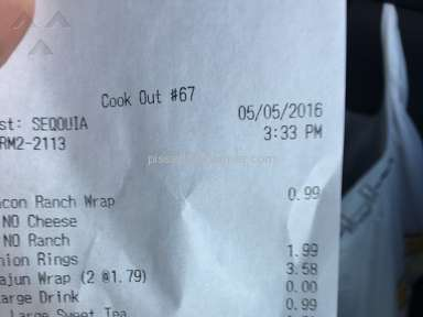 Cook Out - Cajun Wrap Review from Fayetteville, North Carolina