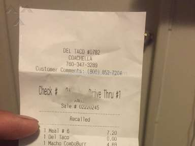 Del Taco Customer Care Review from Santa Ana, California