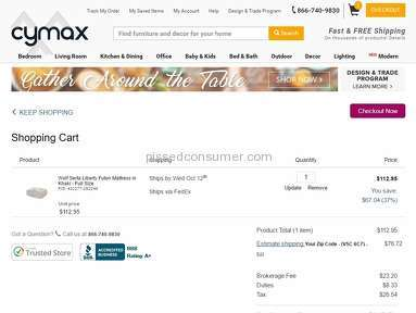 Cymax Stores Shipping Service review 166848
