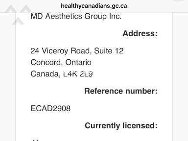 MD Med Spa Supply of Concord ON - Distributing Medical Devices non compliant with Health Canada