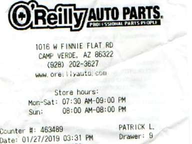 Oreilly Auto Parts - Bad customer service by worker