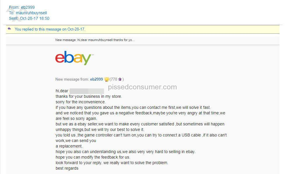 Ebay Seller Feedback Extortion Nov 18 2019 Pissed Consumer