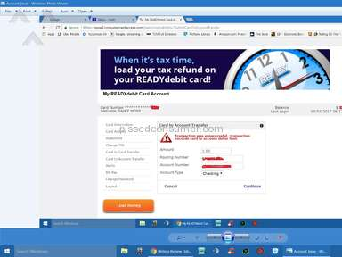 Readydebit - The card no longer allows account to account transfer