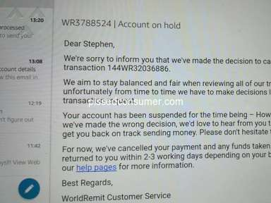 World Remit - Money cancelled and account on hold