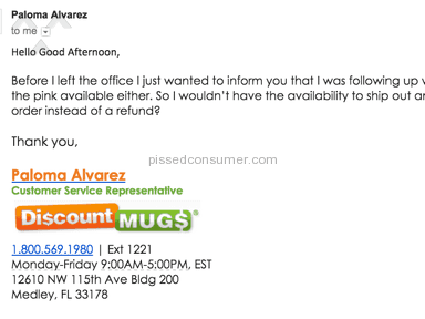 Discountmugs - Terrible experience that resulted in no fulfilled order