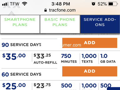 TracFone - Don't honor own plan prices