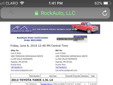 Rockauto - To return a package