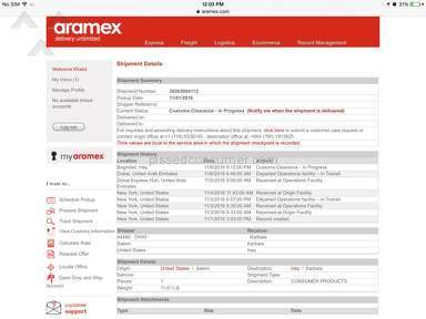 Aramex Delivery Service review 173908