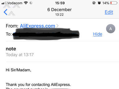 AliExpress use closed account to pay my refund and provide fake proof of payment.