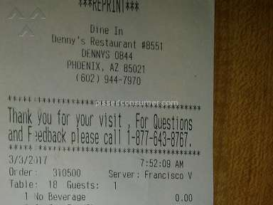 Dennys Restaurant Waiter review 195296