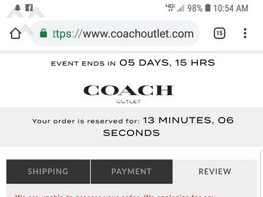 Coach Outlet - I was charged but my order wasnt placed