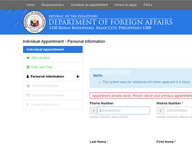 Dfa Passport Appointment System - Unable to receive email and appointment code