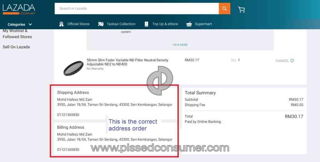 Lazada Malaysia - Sender write address in wrong format Nov