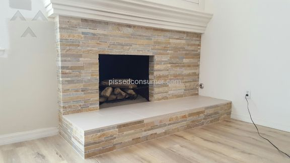 Inline Tile And Stone Fireplace Remodeling