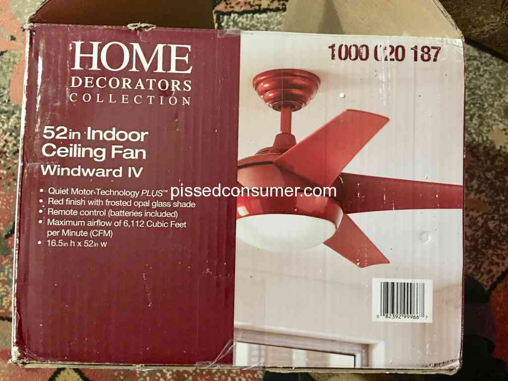 Home Decorators Collection Defective Ceiling Fan From Home Depot
