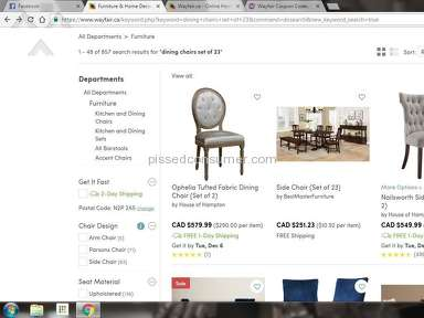 Wayfair - Shipped me 2 of 23 chairs.