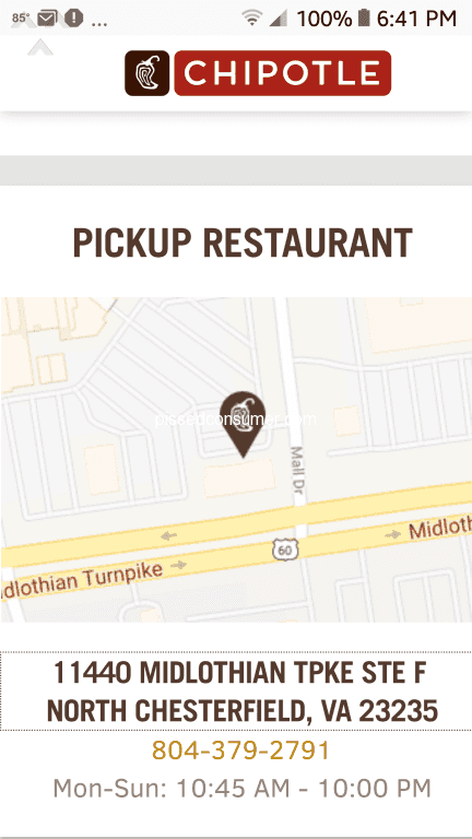 Chipotle - Problems with online order-refund required Jul 12