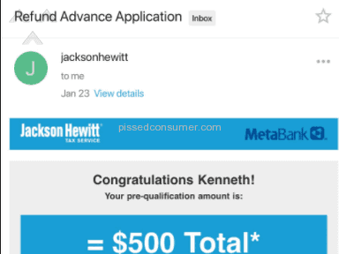 Jackson Hewitt - Refund Advance Fraudulently Miss Leading Consumers/Me