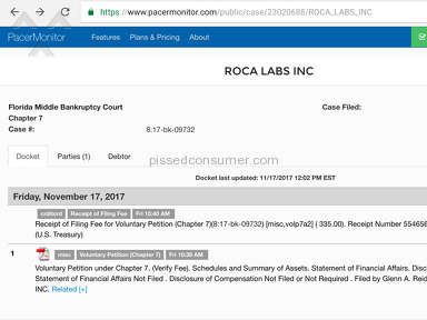 ROCA LABS-DON JURAVIN FILE BANKRUPTCY