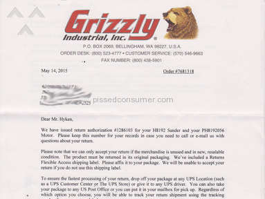 Grizzly Industrial - Defective product and poor warranty service.