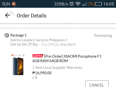 Lazada Philippines - Canceled pre-order item.
