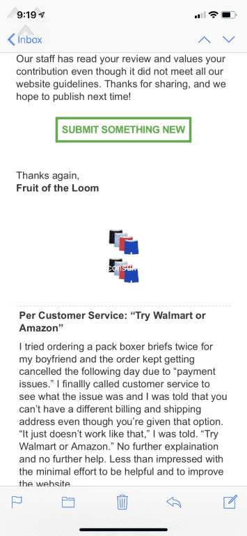 """fe67f34028849 Fruit of the Loom - Per Customer Service """"Try Walmart or Amazon ..."""
