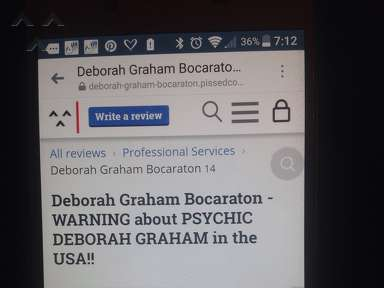 Pissed Consumer - Deborah Graham Bocaraton - WARNING about PSYCHIC DEBORAH GRAHAM