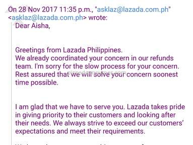 Lazada Philippines Customer Care review 245798