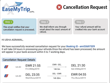EaseMyTrip is not refunding back my money