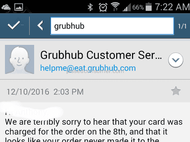 Grubhub Customer Care review 180798
