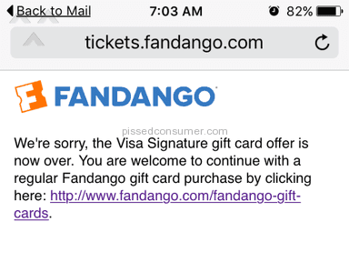 Fandango - Gift Card Review from Newport News, Virginia